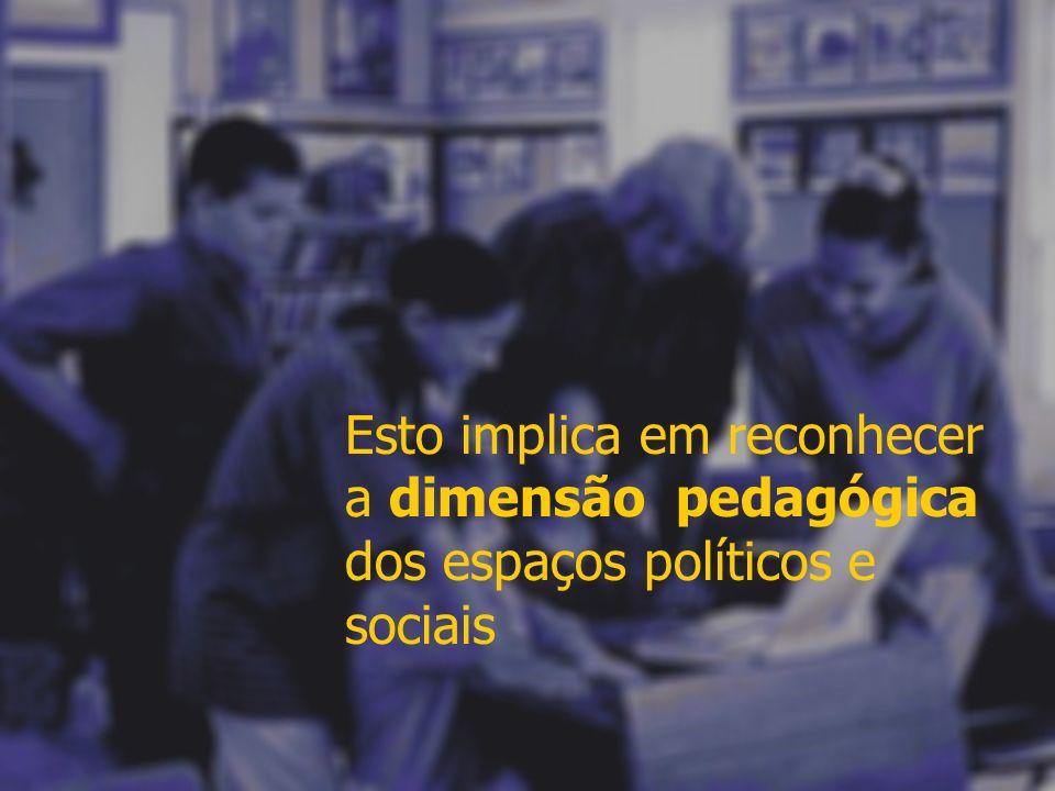 Esto implica em reconhecer a dimensão pedagógica dos espaços políticos e sociais
