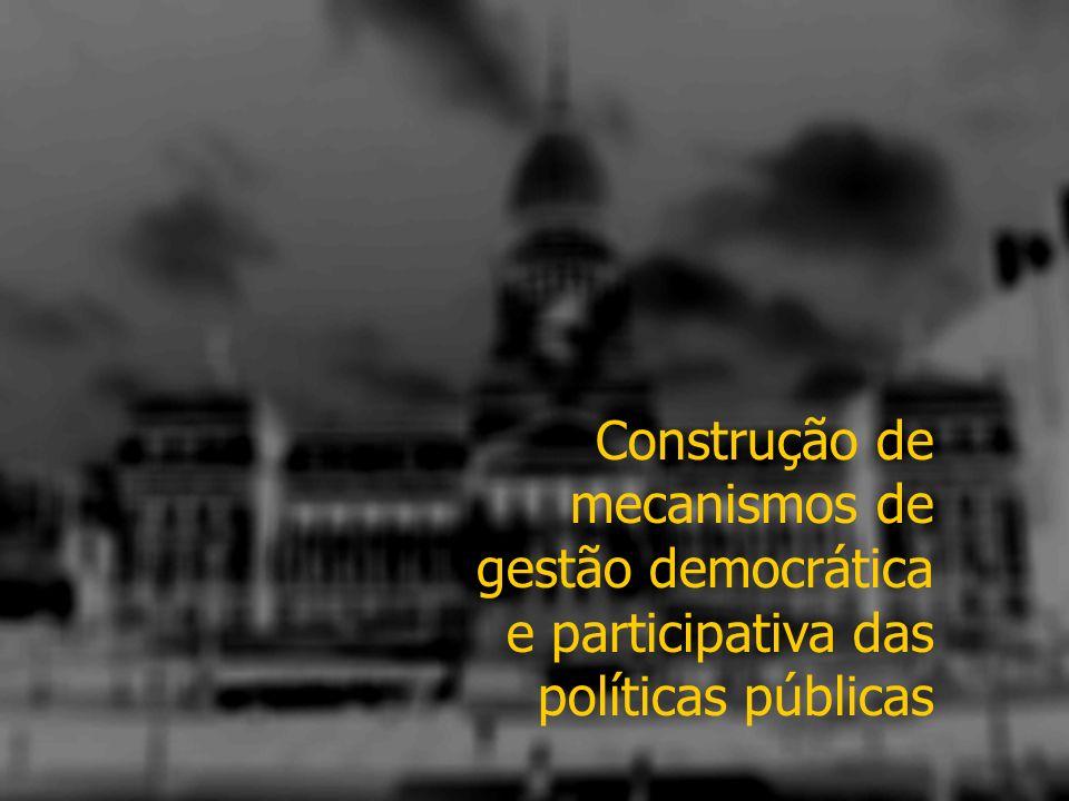Construção de mecanismos de gestão democrática e participativa das políticas públicas