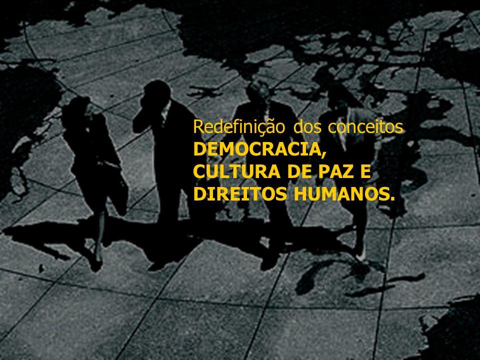 Redefinição dos conceitos DEMOCRACIA, CULTURA DE PAZ E DIREITOS HUMANOS.