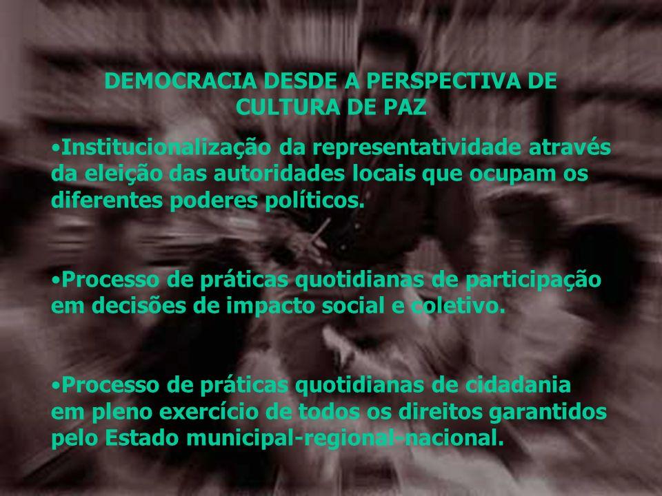 DEMOCRACIA DESDE A PERSPECTIVA DE CULTURA DE PAZ Institucionalização da representatividade através da eleição das autoridades locais que ocupam os dif
