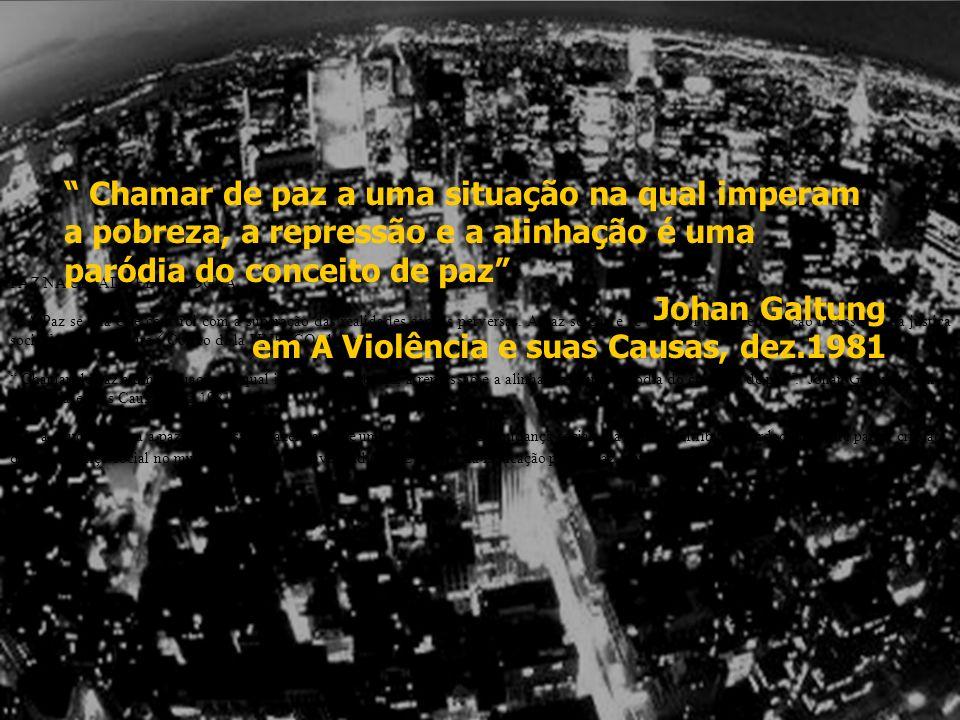 Tensión Global/Local PAZ NA CIDADE EDUCADORA A Paz se cria e se constrói com a superação das realidades sociais perversas. A paz se cria e se constrói
