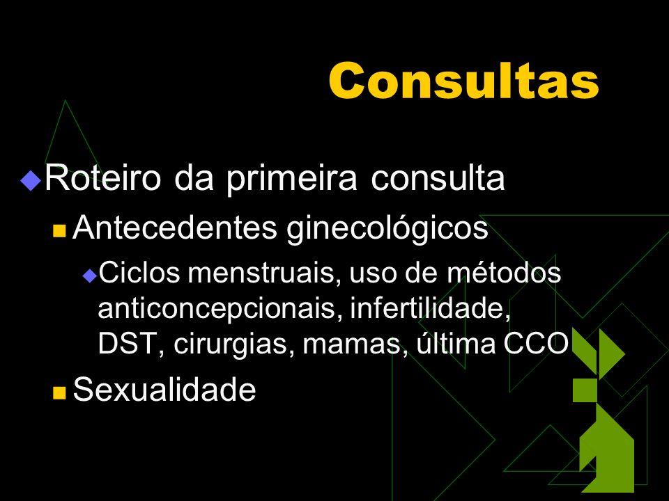 Consultas Roteiro da primeira consulta Antecedentes ginecológicos Ciclos menstruais, uso de métodos anticoncepcionais, infertilidade, DST, cirurgias, mamas, última CCO Sexualidade