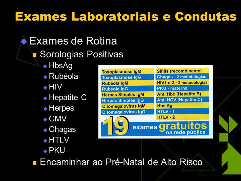 Exames de Rotina Sorologias Positivas HbsAg Rubéola HIV Hepatite C Herpes CMV Chagas HTLV PKU Encaminhar ao Pré-Natal de Alto Risco Exames Laboratoriais e Condutas