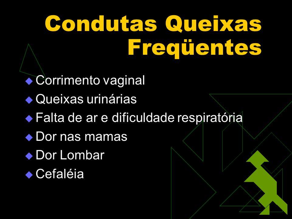 Condutas Queixas Freqüentes Corrimento vaginal Queixas urinárias Falta de ar e dificuldade respiratória Dor nas mamas Dor Lombar Cefaléia