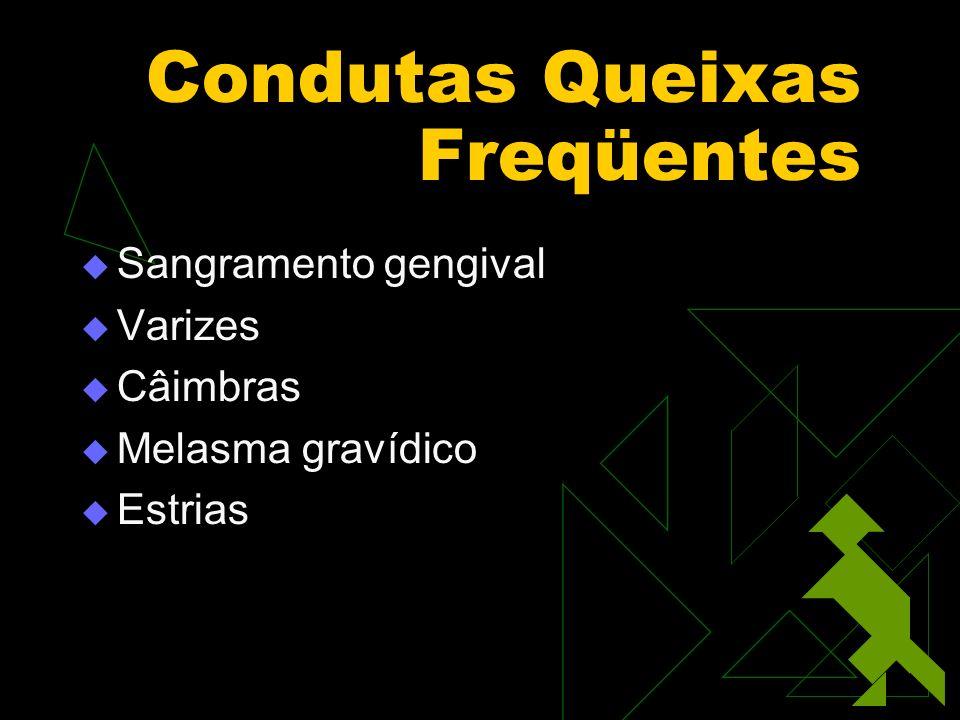 Condutas Queixas Freqüentes Sangramento gengival Varizes Câimbras Melasma gravídico Estrias