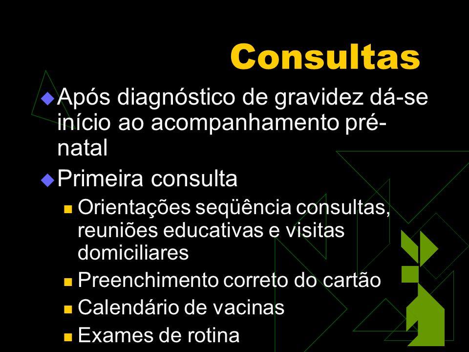 Consultas Exames de Rotina Hemograma (Hb, Ht, Leuc) Tipo sangüíneo Urina I, urocultura Parasitológico Glicemia jejum, GTT75g CCO Coombs Indireto (Se Rh negativo) Ultra-sonografia 1o, 2o e 3o trimestres Sorologias VDRL, HbsAg, Toxoplasmose, Rubéola, HIV