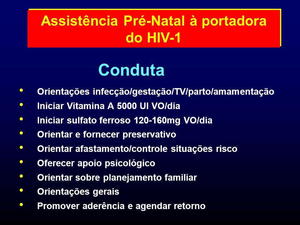 Orientações infecção/gestação/TV/parto/amamentação Iniciar Vitamina A 5000 UI VO/dia Iniciar sulfato ferroso 120-160mg VO/dia Orientar e fornecer pres