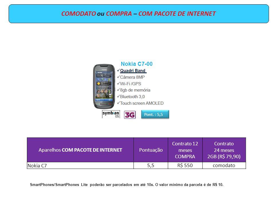 COMPRA – COM PACOTE DE INTERNET Aparelhos COM PACOTE DE INTERNETPontuação Contrato 12 meses COMPRA Contrato 24 meses 5MB (R$ 9,90) Contrato 24 meses 250MB (R$ 39,90) Motorola MB5256,5R$ 650R$ 300R$ 280 HTC Touch 26,7R$ 670R$ 320R$ 300 SmartPhones/SmartPhones Lite poderão ser parcelados em até 10x.