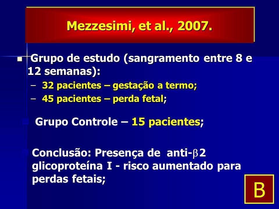 Grupo de estudo (sangramento entre 8 e 12 semanas): Grupo de estudo (sangramento entre 8 e 12 semanas): – 32 pacientes – gestação a termo; – 45 pacientes – perda fetal; Grupo Controle – 15 pacientes; Conclusão: Presença de anti- 2 glicoproteína I - risco aumentado para perdas fetais; Mezzesimi, et al., 2007.