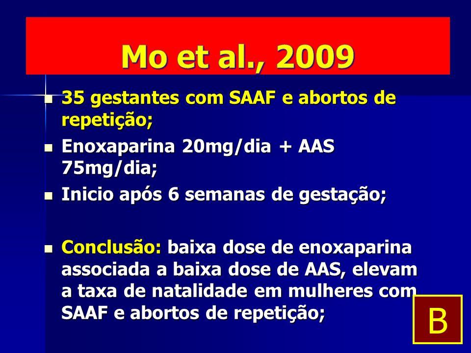 35 gestantes com SAAF e abortos de repetição; 35 gestantes com SAAF e abortos de repetição; Enoxaparina 20mg/dia + AAS 75mg/dia; Enoxaparina 20mg/dia + AAS 75mg/dia; Inicio após 6 semanas de gestação; Inicio após 6 semanas de gestação; Conclusão: baixa dose de enoxaparina associada a baixa dose de AAS, elevam a taxa de natalidade em mulheres com SAAF e abortos de repetição; Conclusão: baixa dose de enoxaparina associada a baixa dose de AAS, elevam a taxa de natalidade em mulheres com SAAF e abortos de repetição; B