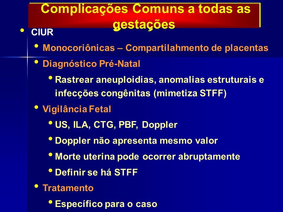 Complicações Comuns a todas as gestações CIUR Monocoriônicas – Compartilahmento de placentas Diagnóstico Pré-Natal Rastrear aneuploidias, anomalias estruturais e infecções congênitas (mimetiza STFF) Vigilância Fetal US, ILA, CTG, PBF, Doppler Doppler não apresenta mesmo valor Morte uterina pode ocorrer abruptamente Definir se há STFF Tratamento Específico para o caso