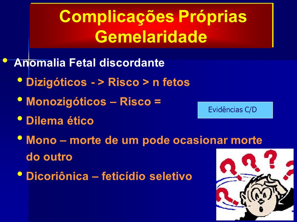 Complicações Próprias Gemelaridade Anomalia Fetal discordante Dizigóticos - > Risco > n fetos Monozigóticos – Risco = Dilema ético Mono – morte de um pode ocasionar morte do outro Dicoriônica – feticídio seletivo Evidências C/D