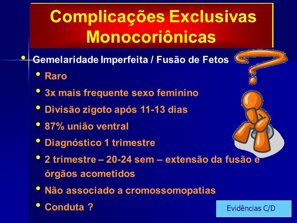 Complicações Exclusivas Monocoriônicas Gemelaridade Imperfeita / Fusão de Fetos Raro 3x mais frequente sexo feminino Divisão zigoto após 11-13 dias 87% união ventral Diagnóstico 1 trimestre 2 trimestre – 20-24 sem – extensão da fusão e órgãos acometidos Não associado a cromossomopatias Conduta .