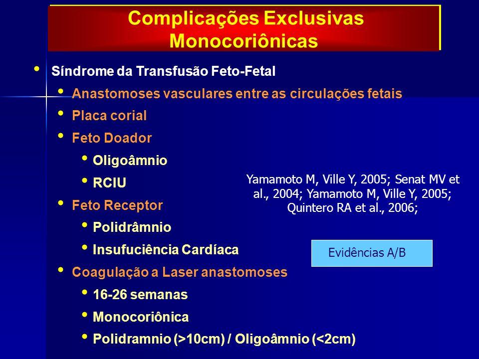 Síndrome da Transfusão Feto-Fetal Anastomoses vasculares entre as circulações fetais Placa corial Feto Doador Oligoâmnio RCIU Feto Receptor Polidrâmnio Insufuciência Cardíaca Coagulação a Laser anastomoses 16-26 semanas Monocoriônica Polidramnio (>10cm) / Oligoâmnio (<2cm) Yamamoto M, Ville Y, 2005; Senat MV et al., 2004; Yamamoto M, Ville Y, 2005; Quintero RA et al., 2006; Evidências A/B