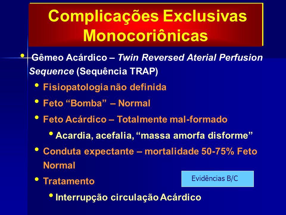 Complicações Exclusivas Monocoriônicas Gêmeo Acárdico – Twin Reversed Aterial Perfusion Sequence (Sequência TRAP) Fisiopatologia não definida Feto Bomba – Normal Feto Acárdico – Totalmente mal-formado Acardia, acefalia, massa amorfa disforme Conduta expectante – mortalidade 50-75% Feto Normal Tratamento Interrupção circulação Acárdico Evidências B/C
