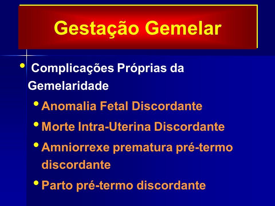 Gestação Gemelar Complicações Próprias da Gemelaridade Anomalia Fetal Discordante Morte Intra-Uterina Discordante Amniorrexe prematura pré-termo discordante Parto pré-termo discordante