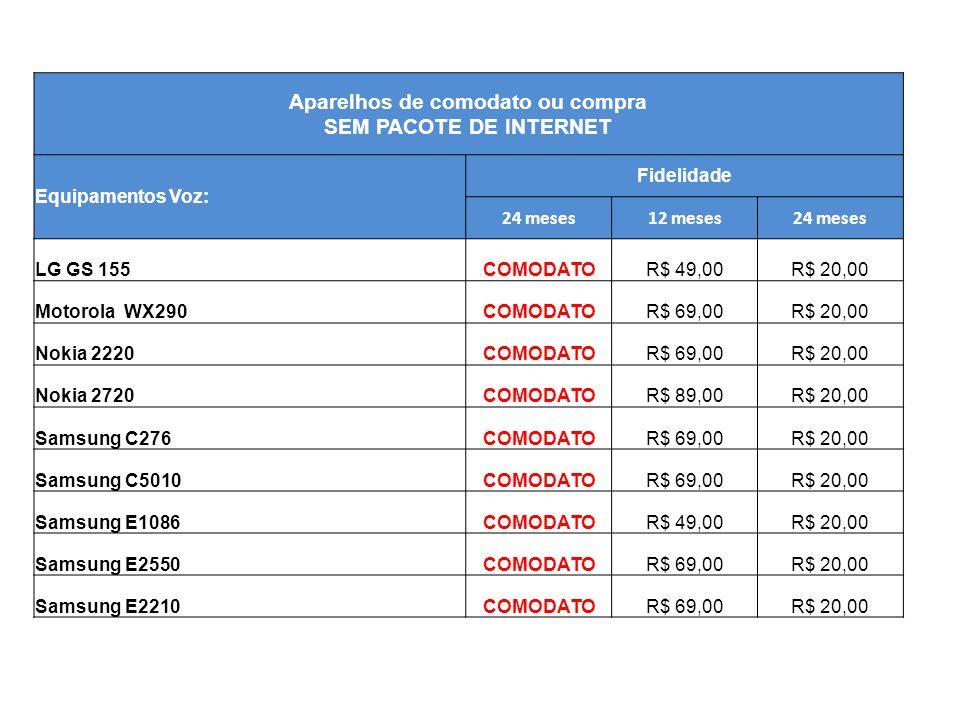 Aparelhos de comodato ou compra SEM PACOTE DE INTERNET Equipamentos Voz: Fidelidade 24 meses12 meses24 meses LG GS 155COMODATOR$ 49,00R$ 20,00 Motorol