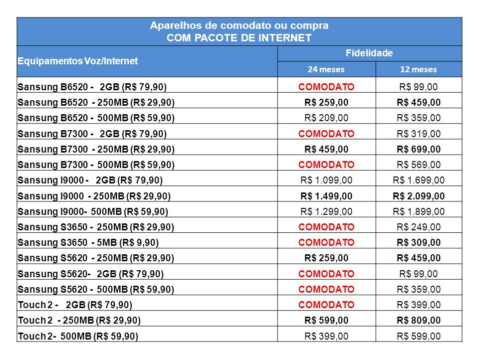 Aparelhos de comodato ou compra COM PACOTE DE INTERNET Equipamentos Voz/Internet Fidelidade 24 meses12 meses Sansung B6520 - 2GB (R$ 79,90)COMODATOR$