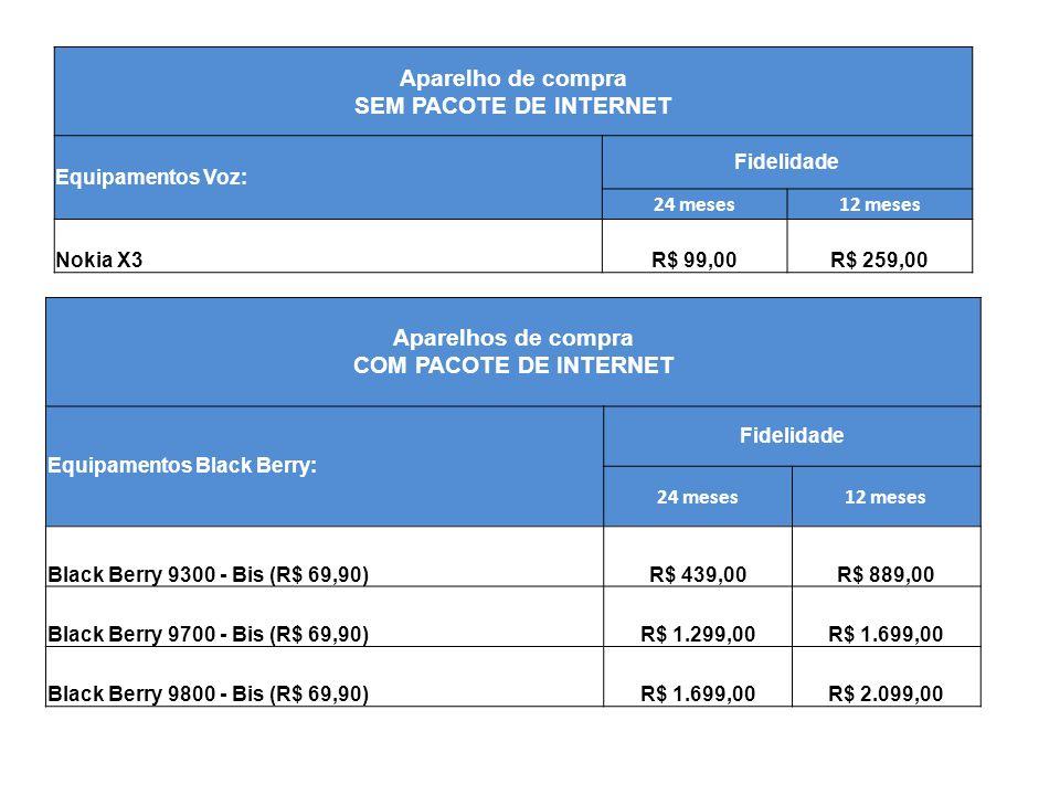 Aparelho de compra SEM PACOTE DE INTERNET Equipamentos Voz: Fidelidade 24 meses12 meses Nokia X3R$ 99,00R$ 259,00 Aparelhos de compra COM PACOTE DE IN