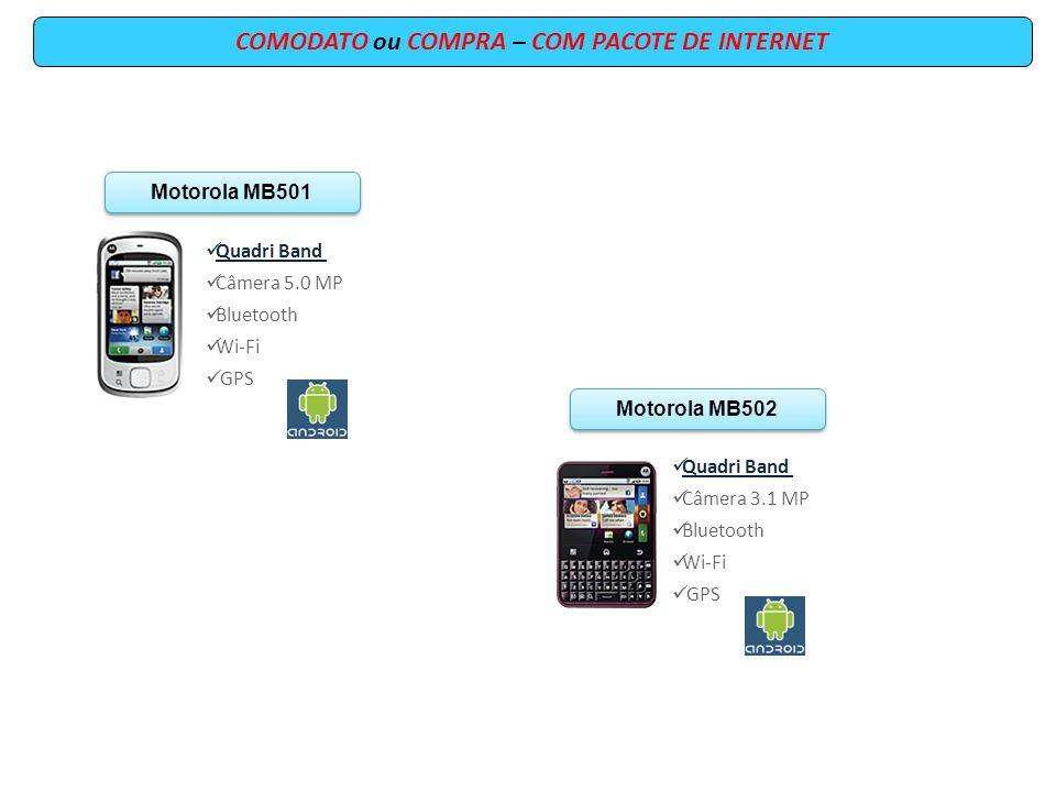 COMODATO ou COMPRA – COM PACOTE DE INTERNET Motorola MB501 Quadri Band Câmera 5.0 MP Bluetooth Wi-Fi GPS Motorola MB502 Quadri Band Câmera 3.1 MP Blue