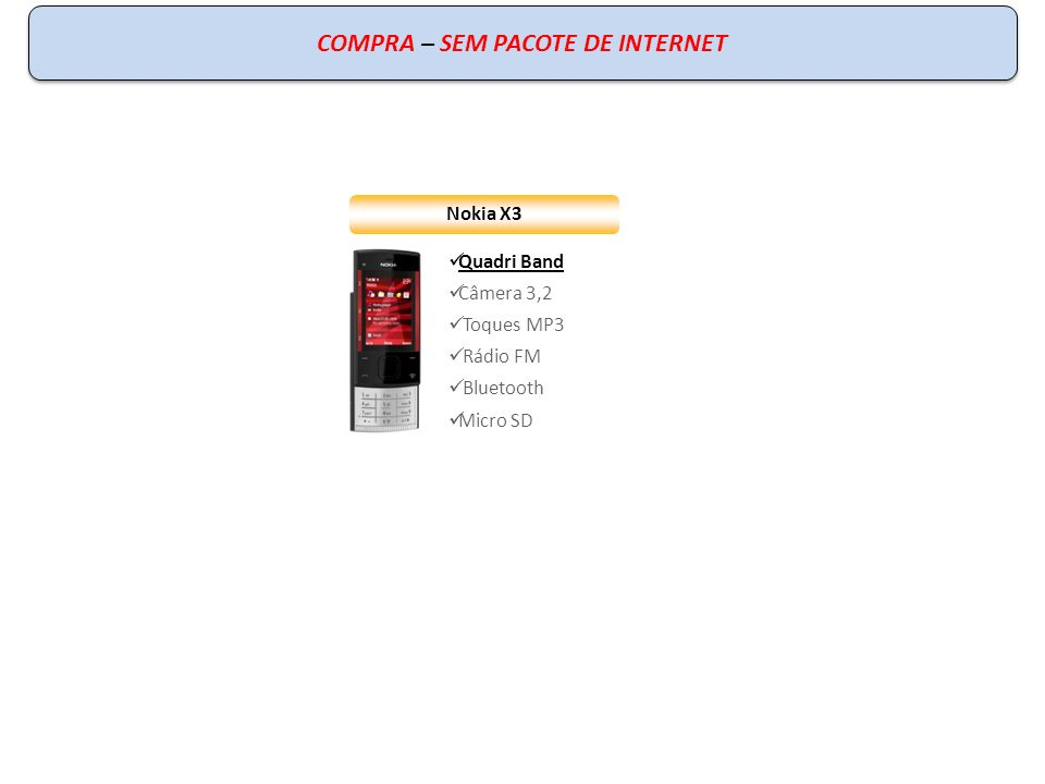 Nokia X3 Quadri Band Câmera 3,2 Toques MP3 Rádio FM Bluetooth Micro SD COMPRA – SEM PACOTE DE INTERNET