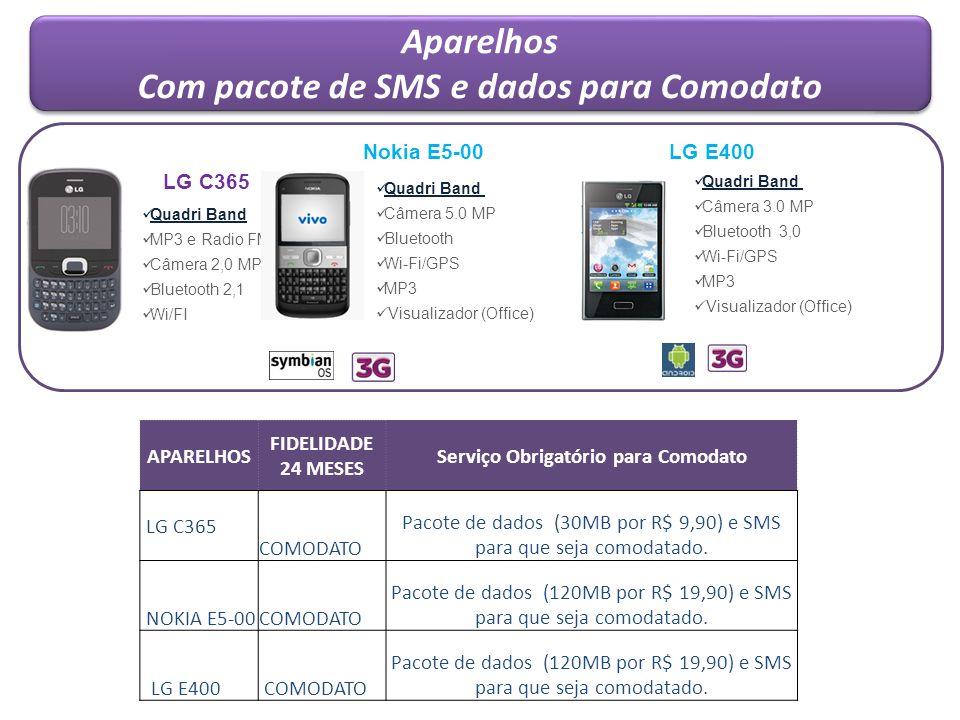 Aparelhos Com pacote de SMS e dados para Comodato Aparelhos Com pacote de SMS e dados para Comodato APARELHOS FIDELIDADE 24 MESES Serviço Obrigatório