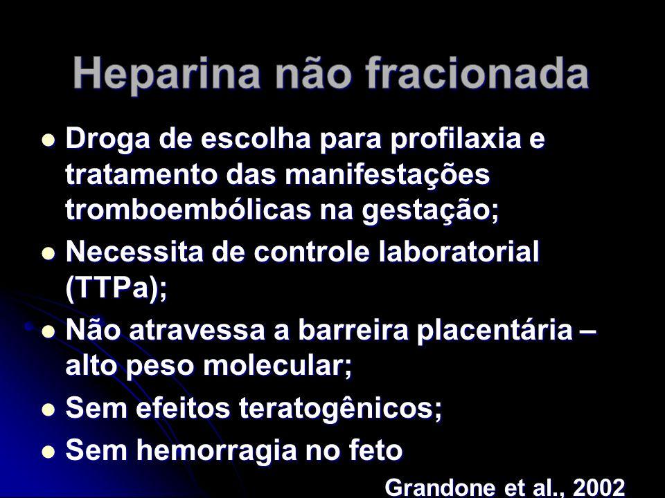 Droga de escolha para profilaxia e tratamento das manifestações tromboembólicas na gestação; Droga de escolha para profilaxia e tratamento das manifestações tromboembólicas na gestação; Necessita de controle laboratorial (TTPa); Necessita de controle laboratorial (TTPa); Não atravessa a barreira placentária – alto peso molecular; Não atravessa a barreira placentária – alto peso molecular; Sem efeitos teratogênicos; Sem efeitos teratogênicos; Sem hemorragia no feto Sem hemorragia no feto Grandone et al., 2002