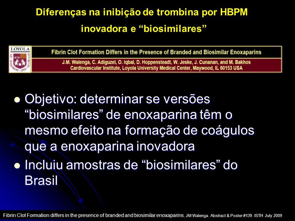 Diferenças na inibição de trombina por HBPM inovadora e biosimilares Fibrin Clot Formation differs in the presence of branded and biosimilar enoxaparins.