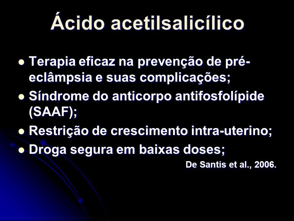Terapia eficaz na prevenção de pré- eclâmpsia e suas complicações; Terapia eficaz na prevenção de pré- eclâmpsia e suas complicações; Síndrome do anticorpo antifosfolípide (SAAF); Síndrome do anticorpo antifosfolípide (SAAF); Restrição de crescimento intra-uterino; Restrição de crescimento intra-uterino; Droga segura em baixas doses; Droga segura em baixas doses; De Santis et al., 2006.