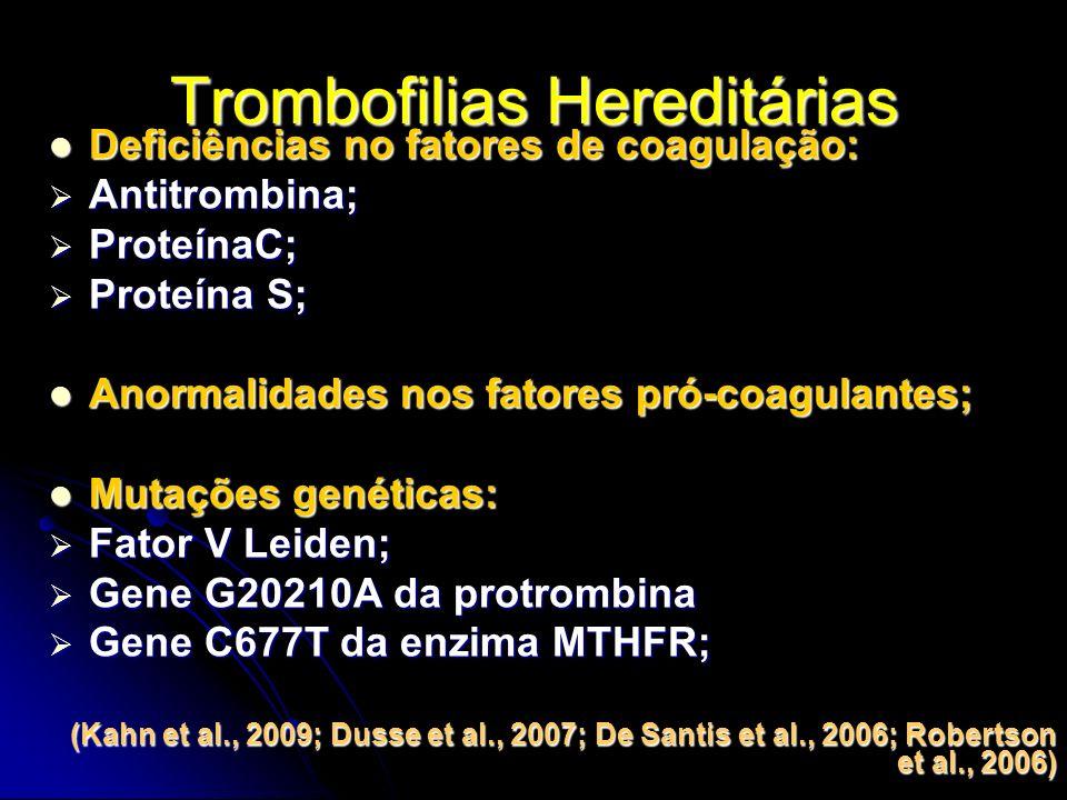 Trombofilias Hereditárias Deficiências no fatores de coagulação: Deficiências no fatores de coagulação: Antitrombina; Antitrombina; ProteínaC; ProteínaC; Proteína S; Proteína S; Anormalidades nos fatores pró-coagulantes; Anormalidades nos fatores pró-coagulantes; Mutações genéticas: Mutações genéticas: Fator V Leiden; Fator V Leiden; Gene G20210A da protrombina Gene G20210A da protrombina Gene C677T da enzima MTHFR; Gene C677T da enzima MTHFR; (Kahn et al., 2009; Dusse et al., 2007; De Santis et al., 2006; Robertson et al., 2006)