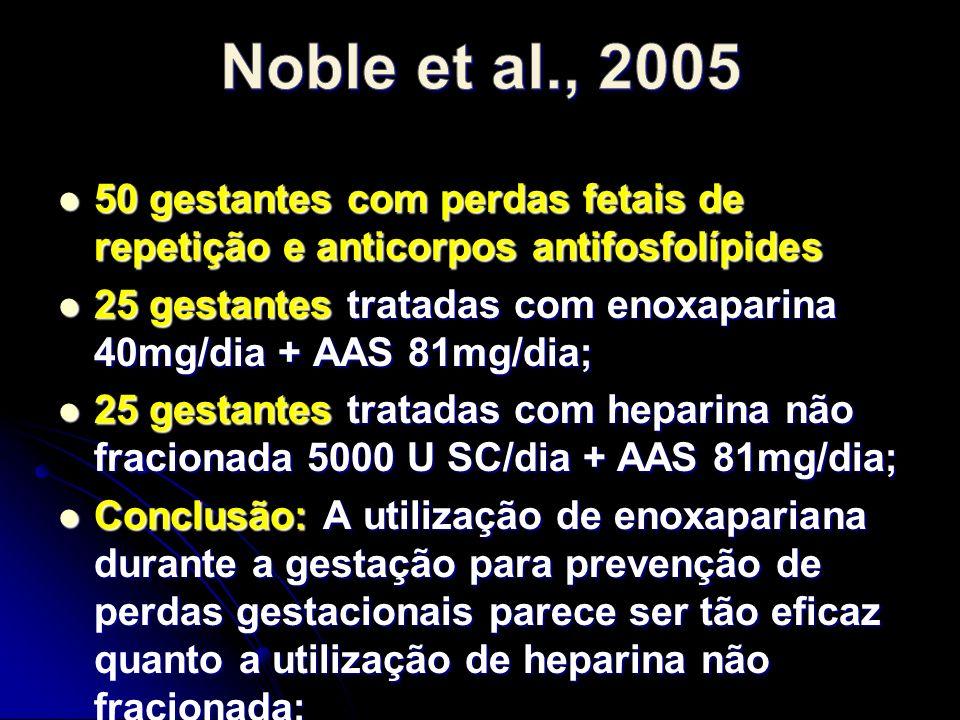 50 gestantes com perdas fetais de repetição e anticorpos antifosfolípides 50 gestantes com perdas fetais de repetição e anticorpos antifosfolípides 25 gestantes tratadas com enoxaparina 40mg/dia + AAS 81mg/dia; 25 gestantes tratadas com enoxaparina 40mg/dia + AAS 81mg/dia; 25 gestantes tratadas com heparina não fracionada 5000 U SC/dia + AAS 81mg/dia; 25 gestantes tratadas com heparina não fracionada 5000 U SC/dia + AAS 81mg/dia; Conclusão: A utilização de enoxapariana durante a gestação para prevenção de perdas gestacionais parece ser tão eficaz quanto a utilização de heparina não fracionada; Conclusão: A utilização de enoxapariana durante a gestação para prevenção de perdas gestacionais parece ser tão eficaz quanto a utilização de heparina não fracionada;