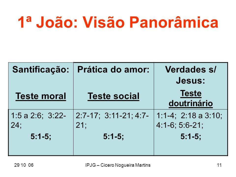 29 10 06IPJG – Cicero Nogueira Martins11 1ª João: Visão Panorâmica Santificação: Teste moral Prática do amor: Teste social Verdades s/ Jesus: Teste do