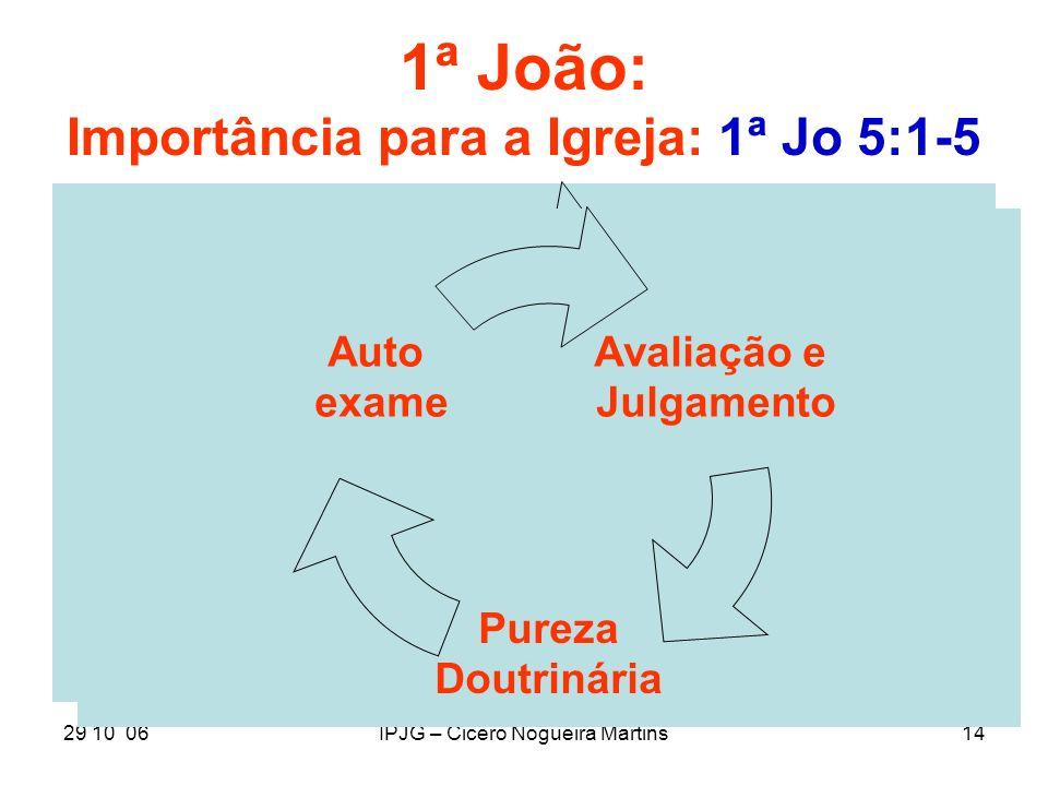 29 10 06IPJG – Cicero Nogueira Martins14 1ª João: Importância para a Igreja: 1ª Jo 5:1-5 Avaliação e Julgamento Pureza Doutrinária Auto exame Avaliaçã