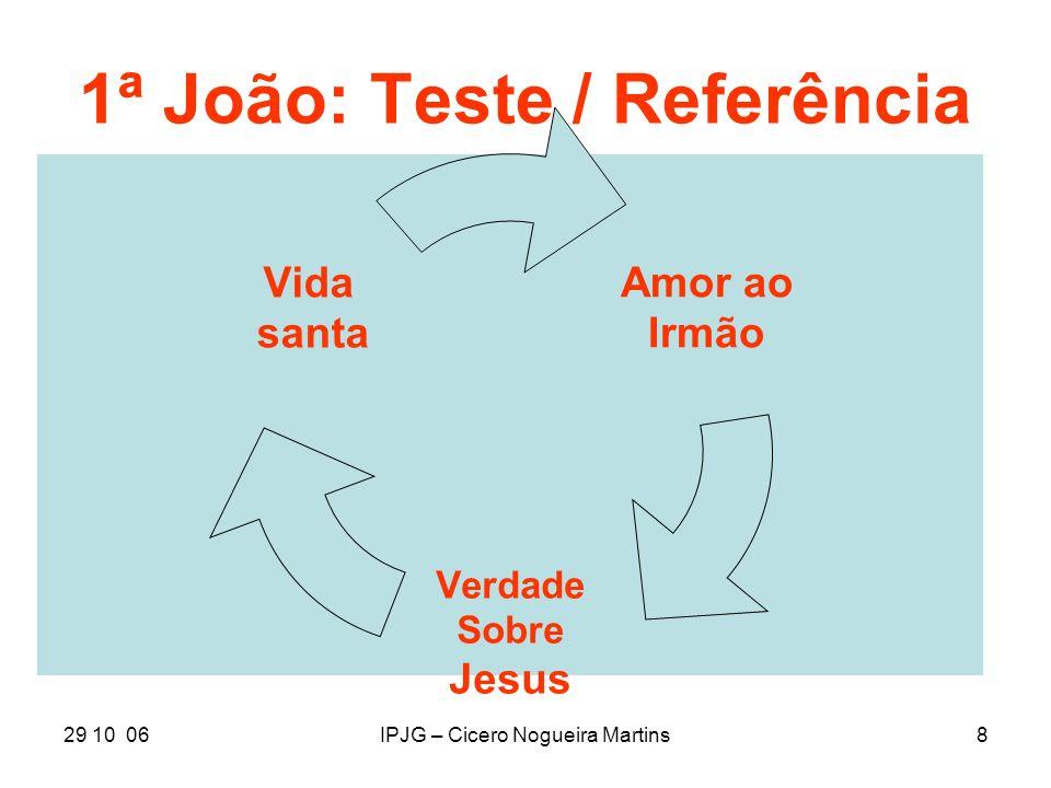 29 10 06IPJG – Cicero Nogueira Martins8 1ª João: Teste / Referência Amor ao Irmão Verdade Sobre Jesus Vida santa