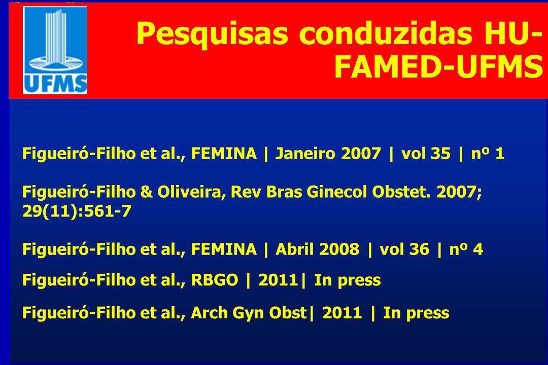 Pesquisas conduzidas HU- FAMED-UFMS Figueiró-Filho & Oliveira, Rev Bras Ginecol Obstet.