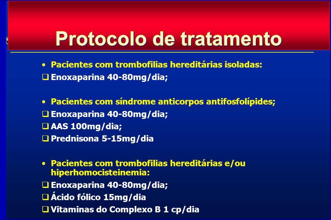 Pacientes com trombofilias hereditárias isoladas: Enoxaparina 40-80mg/dia; Pacientes com síndrome anticorpos antifosfolípides; Enoxaparina 40-80mg/dia; AAS 100mg/dia; Prednisona 5-15mg/dia Pacientes com trombofilias hereditárias e/ou hiperhomocisteinemia: Enoxaparina 40-80mg/dia; Ácido fólico 15mg/dia Vitaminas do Complexo B 1 cp/dia