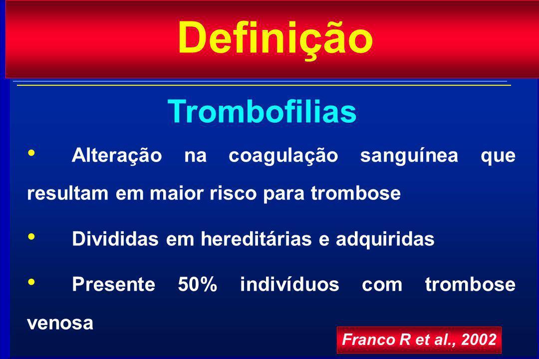 Definição Alteração na coagulação sanguínea que resultam em maior risco para trombose Divididas em hereditárias e adquiridas Presente 50% indivíduos com trombose venosa Trombofilias Franco R et al., 2002