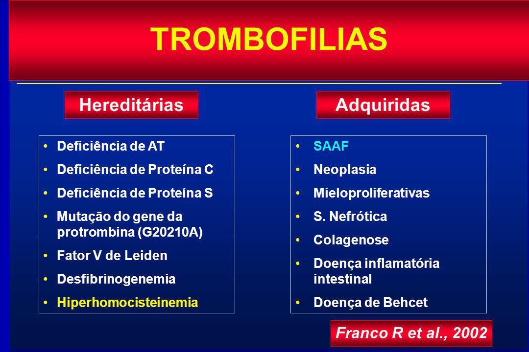 TROMBOFILIAS HereditáriasAdquiridas Deficiência de AT Deficiência de Proteína C Deficiência de Proteína S Mutação do gene da protrombina (G20210A) Fat