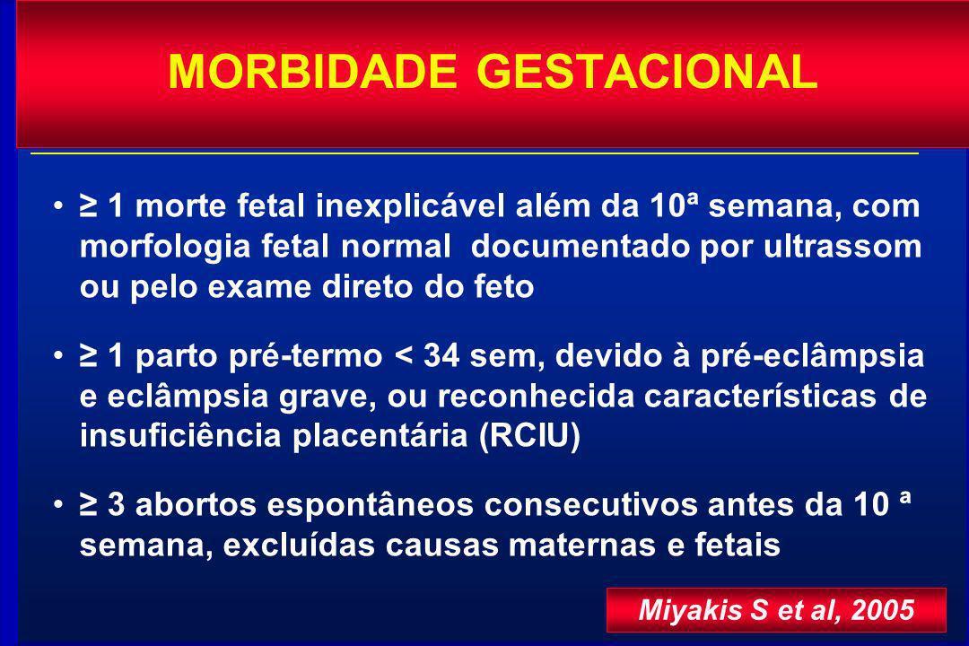 1 morte fetal inexplicável além da 10ª semana, com morfologia fetal normal documentado por ultrassom ou pelo exame direto do feto 1 parto pré-termo <