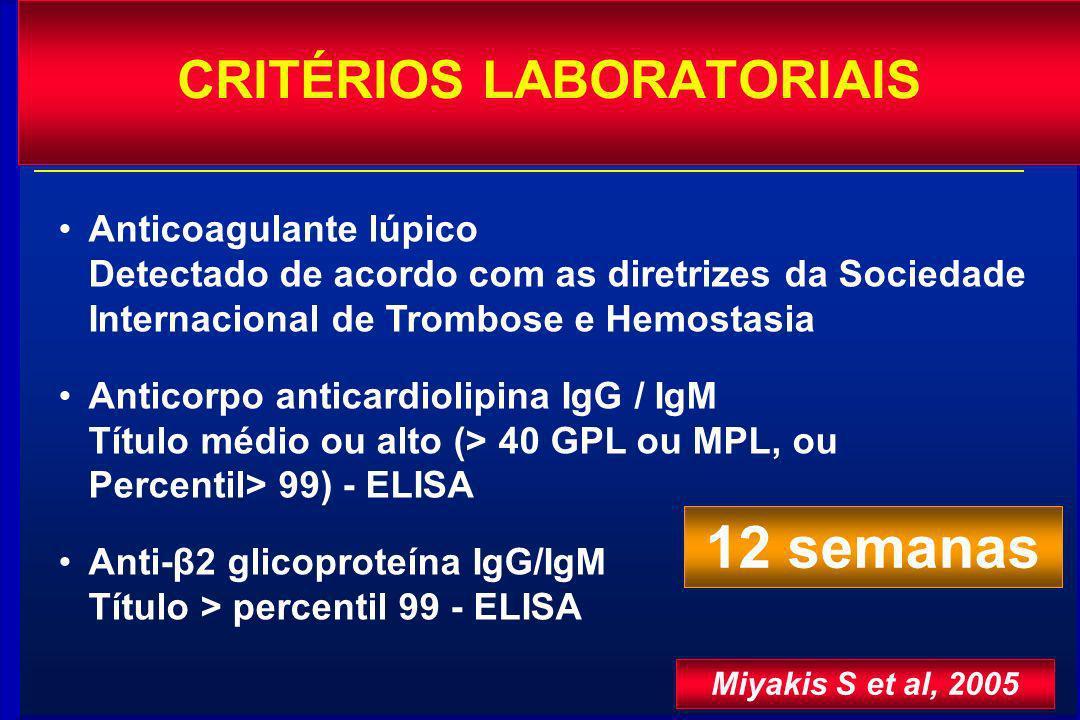 Anticoagulante lúpico Detectado de acordo com as diretrizes da Sociedade Internacional de Trombose e Hemostasia Anticorpo anticardiolipina IgG / IgM T