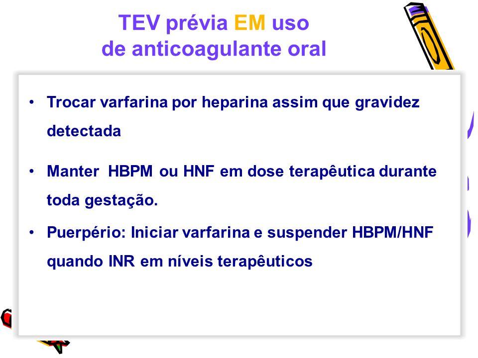 TEV prévia EM uso de anticoagulante oral Trocar varfarina por heparina assim que gravidez detectada Manter HBPM ou HNF em dose terapêutica durante tod