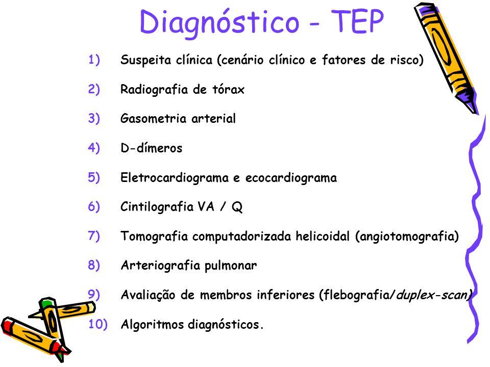 Diagnóstico - TEP 1)Suspeita clínica (cenário clínico e fatores de risco) 2)Radiografia de tórax 3)Gasometria arterial 4)D-dímeros 5)Eletrocardiograma