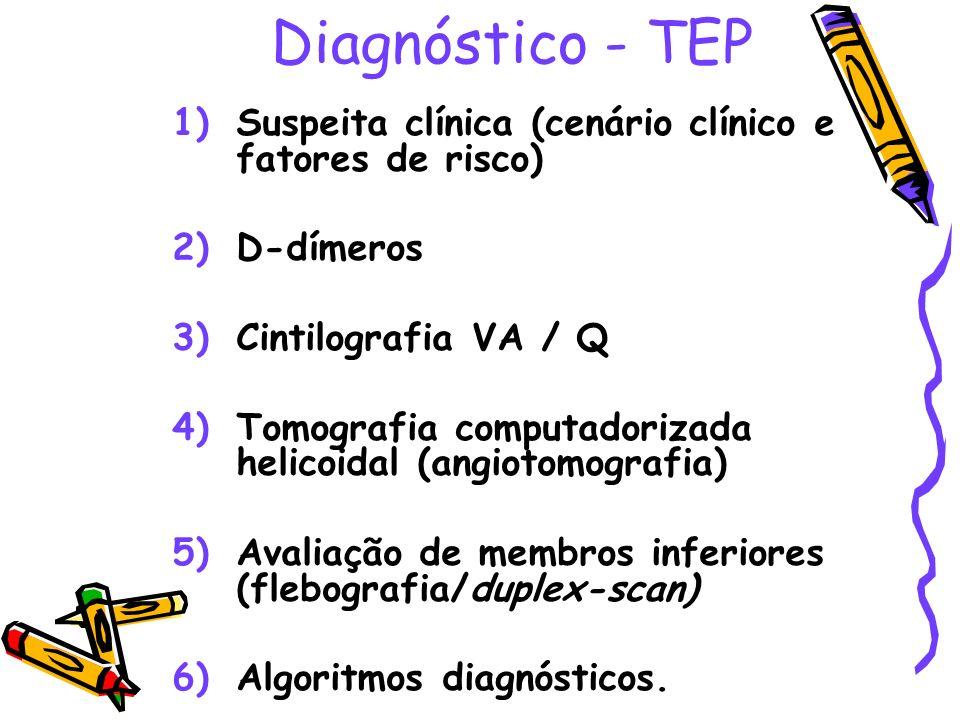 Diagnóstico - TEP 1)Suspeita clínica (cenário clínico e fatores de risco) 2)D-dímeros 3)Cintilografia VA / Q 4)Tomografia computadorizada helicoidal (