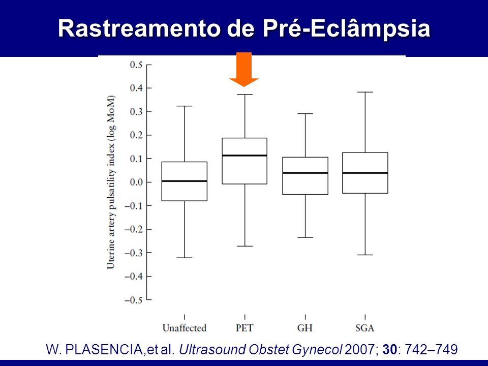 Rastreamento de Pré-Eclâmpsia W. PLASENCIA,et al. Ultrasound Obstet Gynecol 2007; 30: 742–749