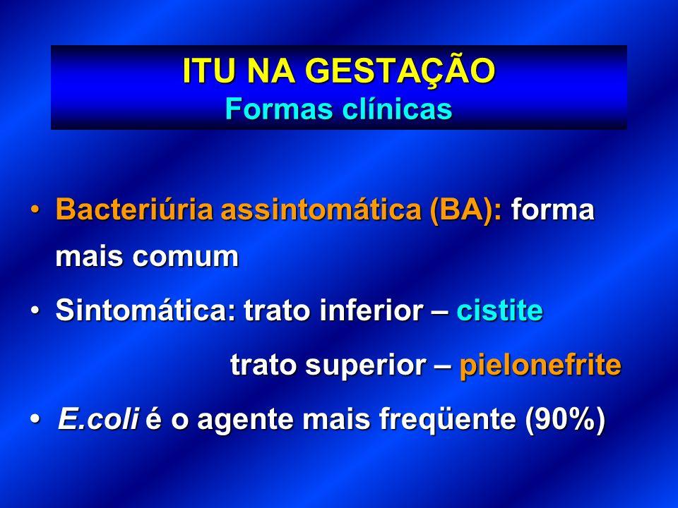 ITU NA GESTAÇÃO Formas clínicas Bacteriúria assintomática (BA): forma mais comumBacteriúria assintomática (BA): forma mais comum Sintomática: trato in