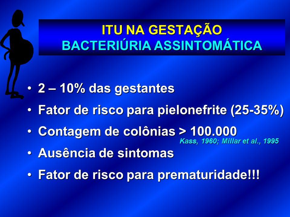 ITU NA GESTAÇÃO BACTERIÚRIA ASSINTOMÁTICA 2 – 10% das gestantes2 – 10% das gestantes Fator de risco para pielonefrite (25-35%)Fator de risco para piel