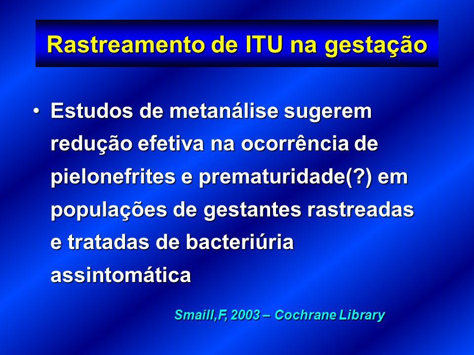 Rastreamento de ITU na gestação Estudos de metanálise sugerem redução efetiva na ocorrência de pielonefrites e prematuridade(?) em populações de gesta