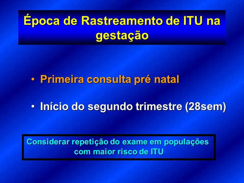 Época de Rastreamento de ITU na gestação Primeira consulta pré natalPrimeira consulta pré natal Início do segundo trimestre (28sem)Início do segundo t