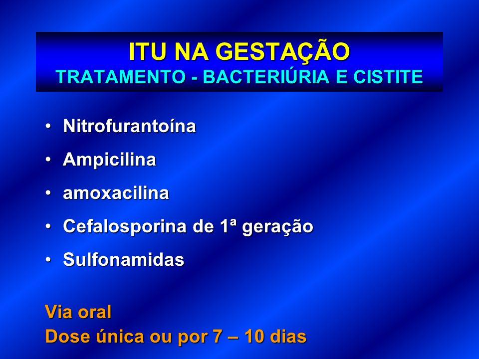 ITU NA GESTAÇÃO TRATAMENTO - BACTERIÚRIA E CISTITE NitrofurantoínaNitrofurantoína AmpicilinaAmpicilina amoxacilinaamoxacilina Cefalosporina de 1ª gera