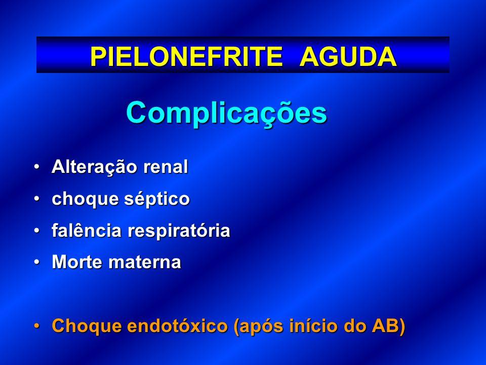 Complicações Alteração renalAlteração renal choque sépticochoque séptico falência respiratóriafalência respiratória Morte maternaMorte materna Choque